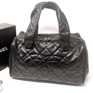 CHANEL Black Bag Timeless CC Caviar Leather
